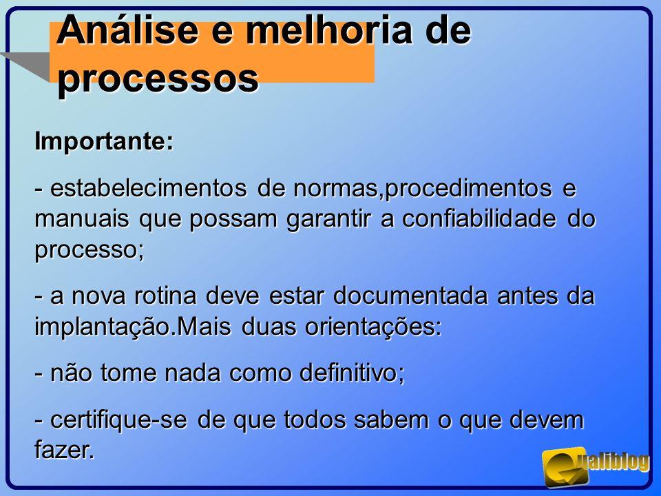 Análise e melhoria de processosImportante: - estabelecimentos de normas,procedimentos e manuais que possam garantir a confiabilidade do processo; - a