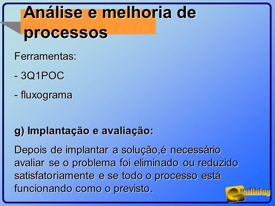 Análise e melhoria de processosFerramentas: - 3Q1POC - fluxograma g) Implantação e avaliação: Depois de implantar a solução,é necessário avaliar se o