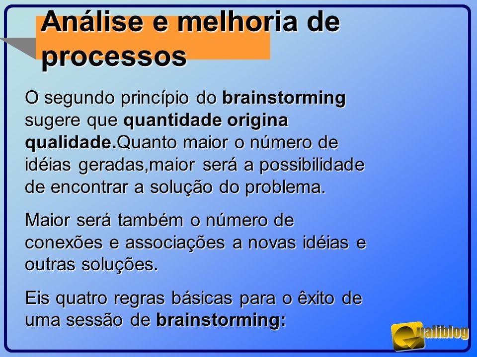 Análise e melhoria de processos O segundo princípio do brainstorming sugere que quantidade origina qualidade.Quanto maior o número de idéias geradas,m