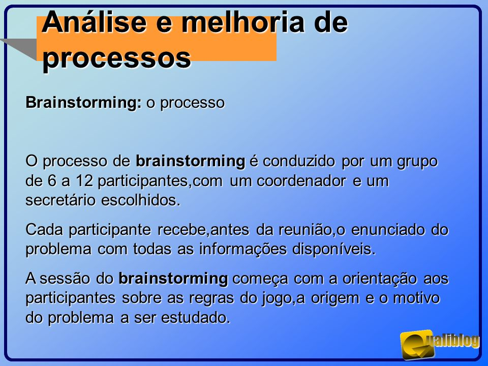 Análise e melhoria de processos Brainstorming: o processo O processo de brainstorming é conduzido por um grupo de 6 a 12 participantes,com um coordena