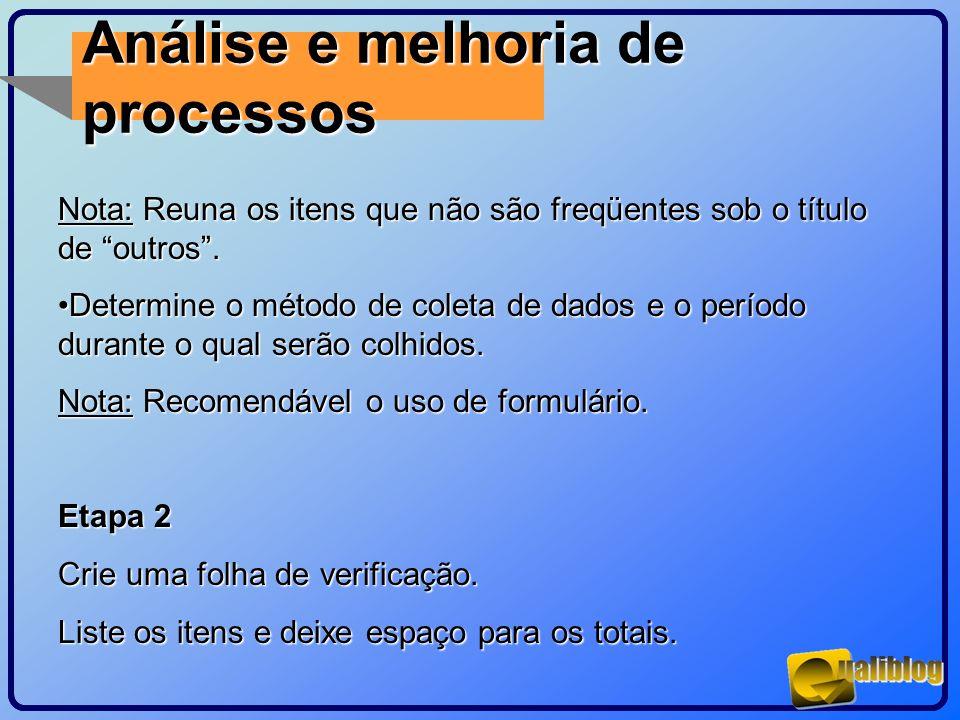 Análise e melhoria de processos Nota: Reuna os itens que não são freqüentes sob o título de outros. Determine o método de coleta de dados e o período