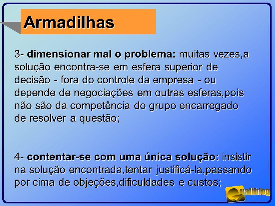 Armadilhas 3- dimensionar mal o problema: muitas vezes,a solução encontra-se em esfera superior de decisão - fora do controle da empresa - ou depende