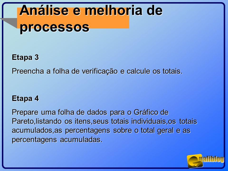 Análise e melhoria de processos Etapa 3 Preencha a folha de verificação e calcule os totais. Etapa 4 Prepare uma folha de dados para o Gráfico de Pare