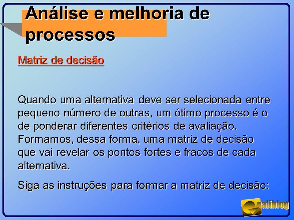 Análise e melhoria de processos Matriz de decisão Quando uma alternativa deve ser selecionada entre pequeno número de outras, um ótimo processo é o de
