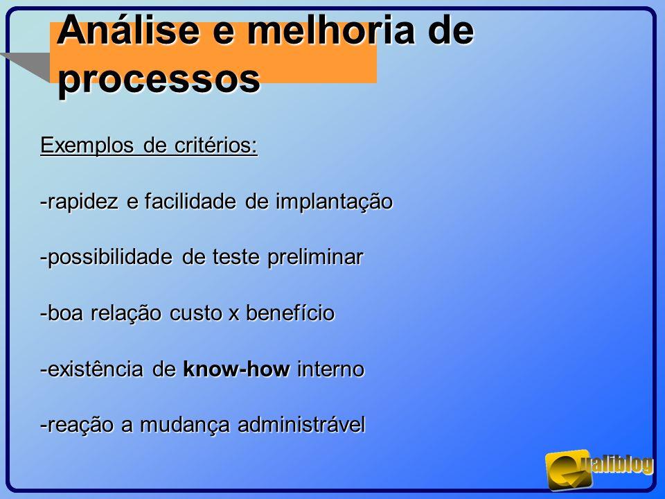Análise e melhoria de processos Exemplos de critérios: -rapidez e facilidade de implantação -possibilidade de teste preliminar -boa relação custo x be