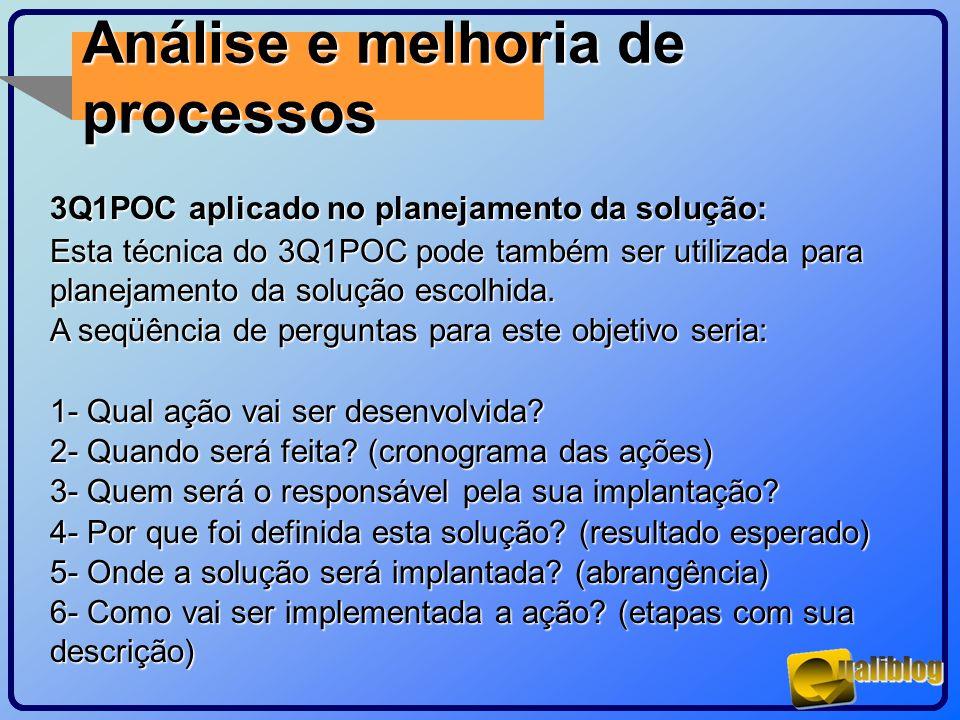 Análise e melhoria de processos 3Q1POC aplicado no planejamento da solução: Esta técnica do 3Q1POC pode também ser utilizada para planejamento da solu