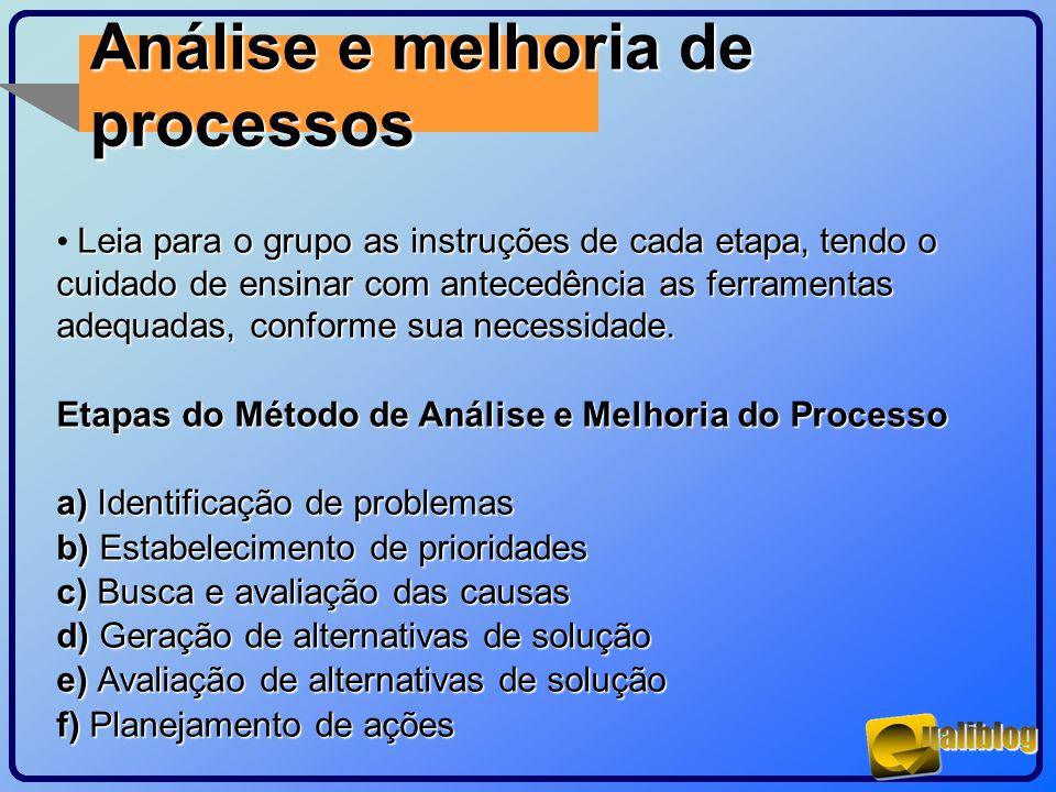 Análise e melhoria de processos Leia para o grupo as instruções de cada etapa, tendo o cuidado de ensinar com antecedência as ferramentas adequadas, c
