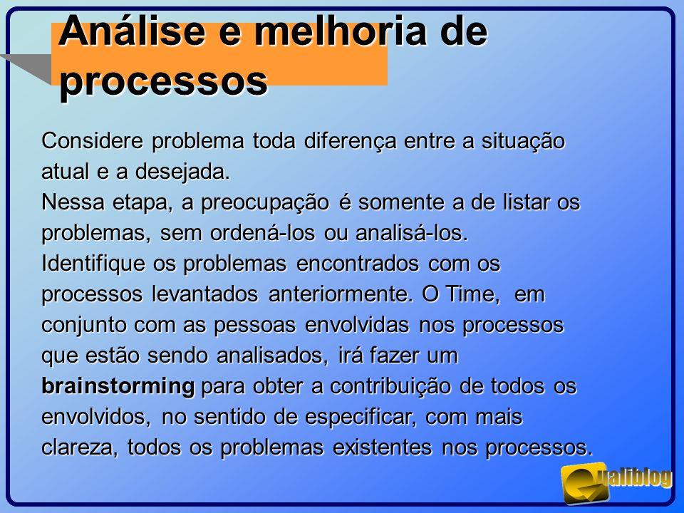 Análise e melhoria de processos Considere problema toda diferença entre a situação atual e a desejada. Nessa etapa, a preocupação é somente a de lista