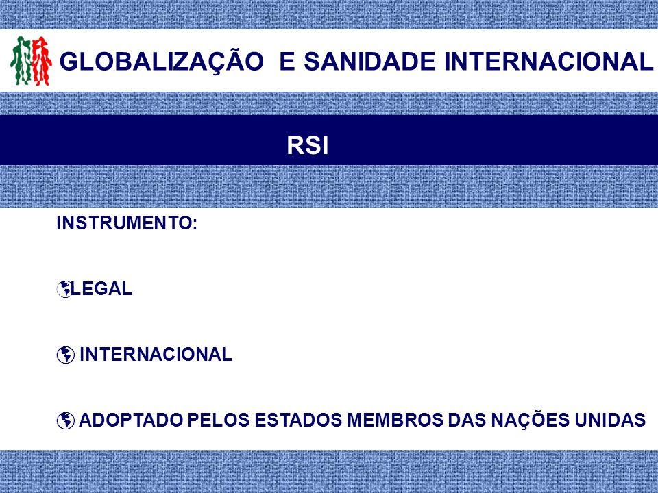 GLOBALIZAÇÃO E SANIDADE INTERNACIONAL RSI INSTRUMENTO: LEGAL INTERNACIONAL ADOPTADO PELOS ESTADOS MEMBROS DAS NAÇÕES UNIDAS