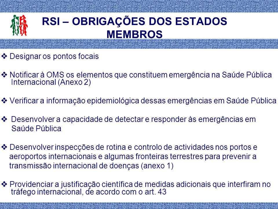 RSI – OBRIGAÇÕES DOS ESTADOS MEMBROS Designar os pontos focais Notificar à OMS os elementos que constituem emergência na Saúde Pública Internacional (