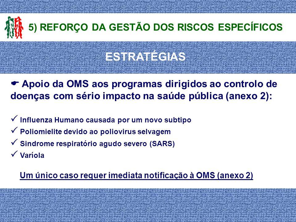 ESTRATÉGIAS 5) REFORÇO DA GESTÃO DOS RISCOS ESPECÍFICOS Apoio da OMS aos programas dirigidos ao controlo de doenças com sério impacto na saúde pública