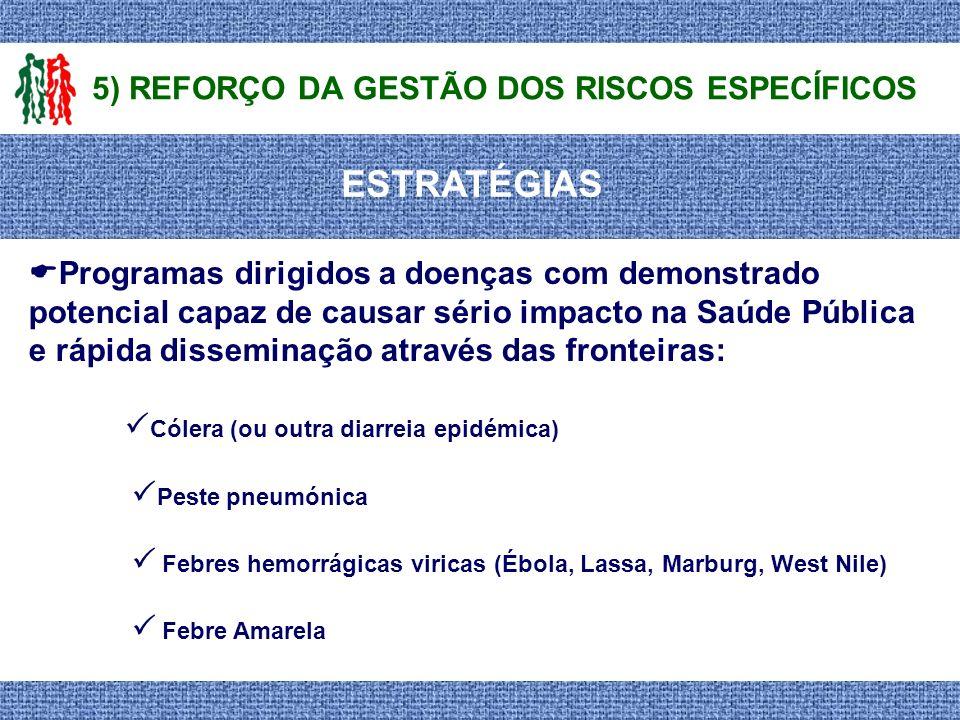 ESTRATÉGIAS 5) REFORÇO DA GESTÃO DOS RISCOS ESPECÍFICOS Programas dirigidos a doenças com demonstrado potencial capaz de causar sério impacto na Saúde