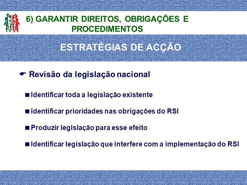 6) GARANTIR DIREITOS, OBRIGAÇÕES E PROCEDIMENTOS Identificar toda a legislação existente Identificar prioridades nas obrigações do RSI Produzir legisl