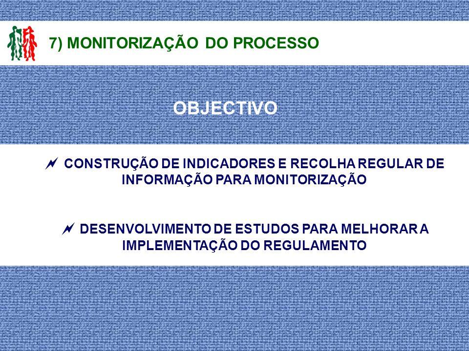 OBJECTIVO 7) MONITORIZAÇÃO DO PROCESSO CONSTRUÇÃO DE INDICADORES E RECOLHA REGULAR DE INFORMAÇÃO PARA MONITORIZAÇÃO DESENVOLVIMENTO DE ESTUDOS PARA ME