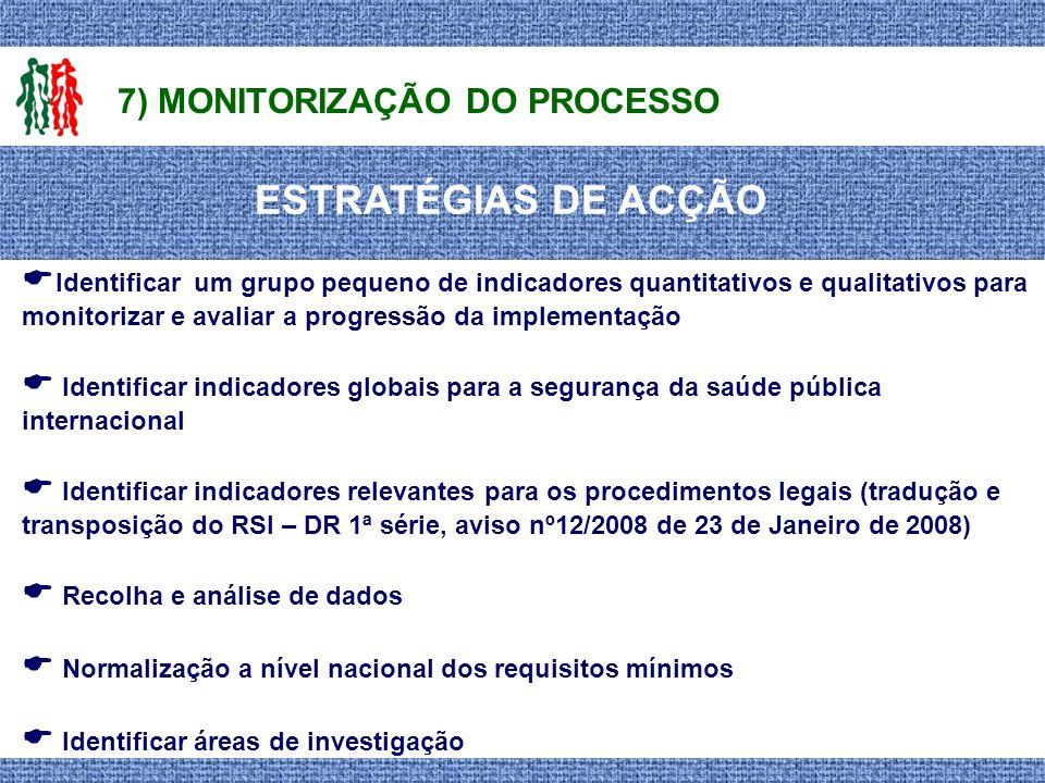 ESTRATÉGIAS DE ACÇÃO 7) MONITORIZAÇÃO DO PROCESSO Identificar um grupo pequeno de indicadores quantitativos e qualitativos para monitorizar e avaliar