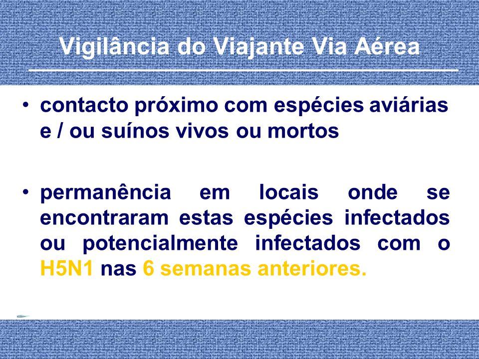 Vigilância do Viajante Via Aérea contacto próximo com espécies aviárias e / ou suínos vivos ou mortos permanência em locais onde se encontraram estas