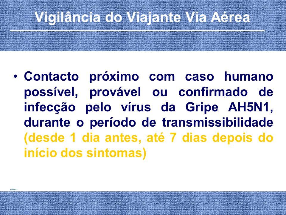 Contacto próximo com caso humano possível, provável ou confirmado de infecção pelo vírus da Gripe AH5N1, durante o período de transmissibilidade (desd