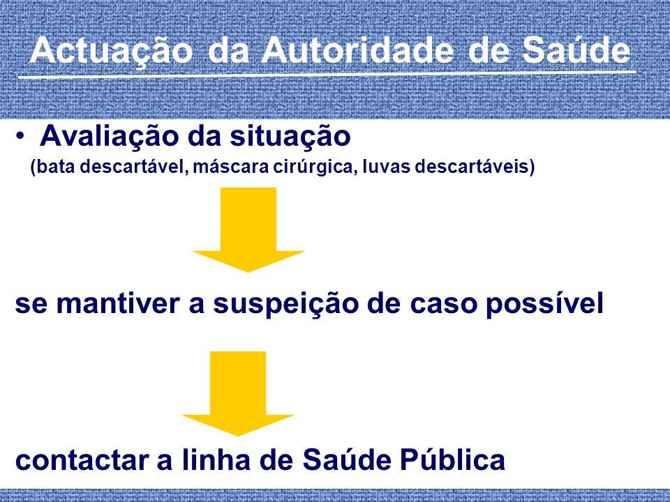 Actuação da Autoridade de Saúde Avaliação da situação (bata descartável, máscara cirúrgica, luvas descartáveis) se mantiver a suspeição de caso possív