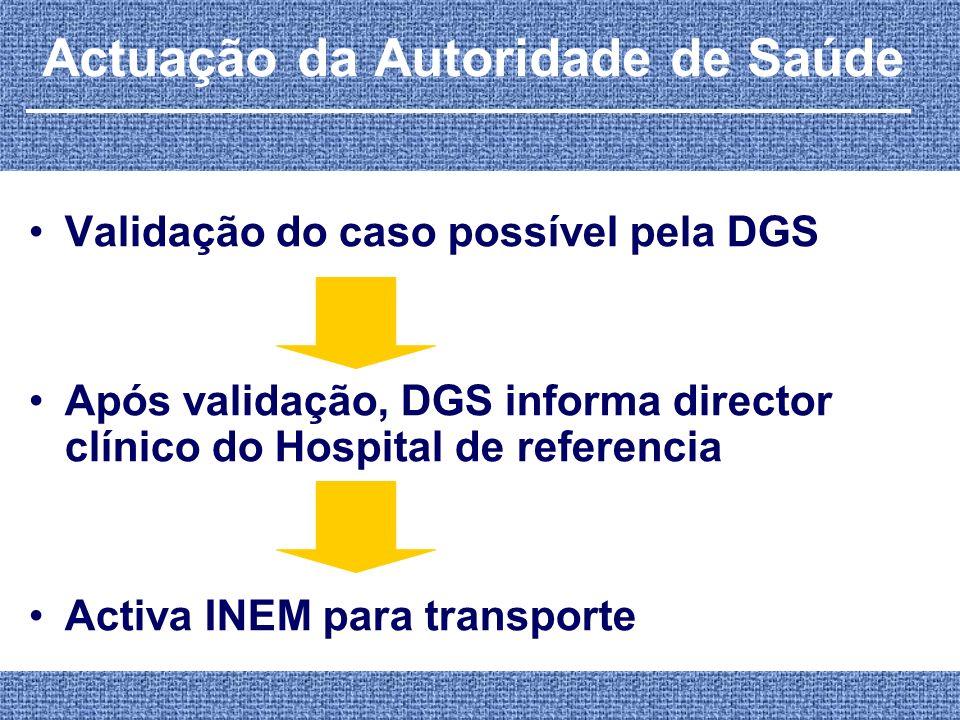 Actuação da Autoridade de Saúde Validação do caso possível pela DGS Após validação, DGS informa director clínico do Hospital de referencia Activa INEM