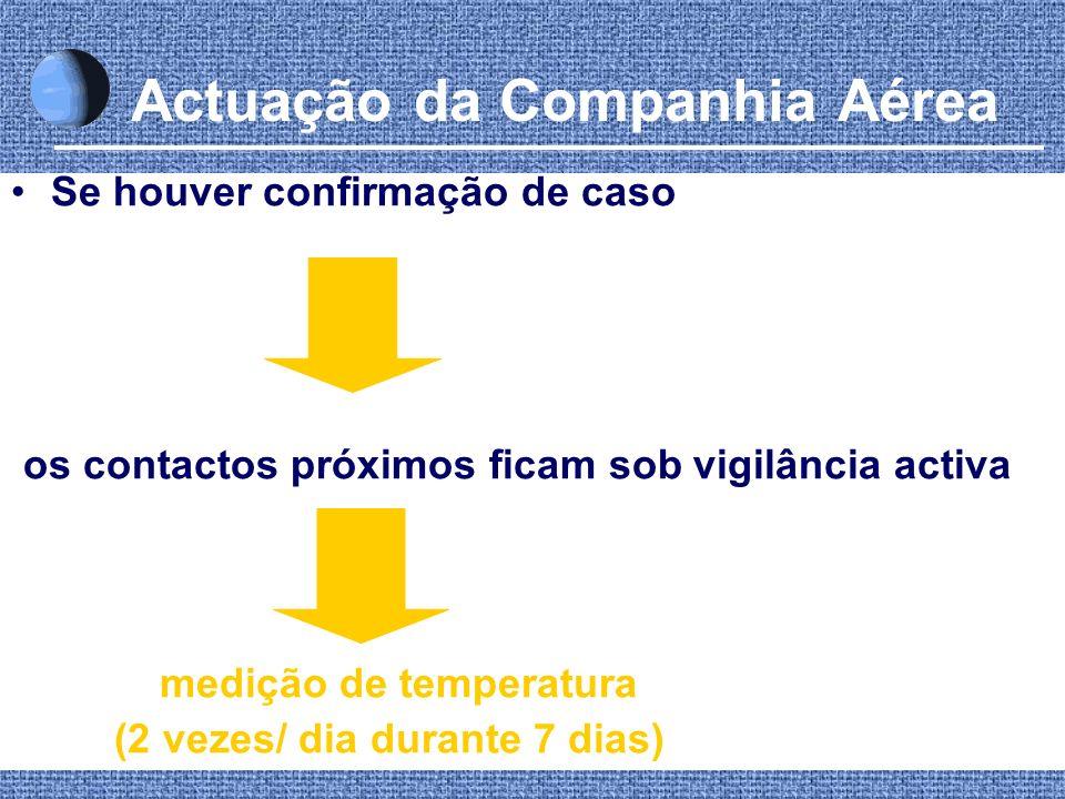 Actuação da Companhia Aérea Se houver confirmação de caso os contactos próximos ficam sob vigilância activa medição de temperatura (2 vezes/ dia duran