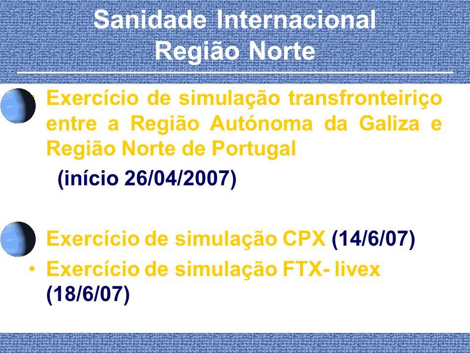 Sanidade Internacional Região Norte Exercício de simulação transfronteiriço entre a Região Autónoma da Galiza e Região Norte de Portugal (início 26/04