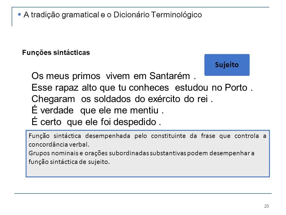 20 [Os meus primos] vivem em Santarém. [Esse rapaz alto que tu conheces] estudou no Porto. Chegaram [os soldados do exército do rei]. É verdade [que e