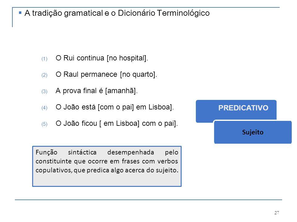 27 (1) O Rui continua [no hospital]. (2) O Raul permanece [no quarto]. (3) A prova final é [amanhã]. (4) O João está [com o pai] em Lisboa]. (5) O Joã
