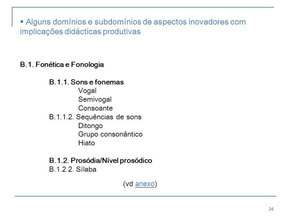 36 B.1. Fonética e Fonologia B.1.1. Sons e fonemas Vogal Semivogal Consoante B.1.1.2. Sequências de sons Ditongo Grupo consonântico Hiato B.1.2. Prosó