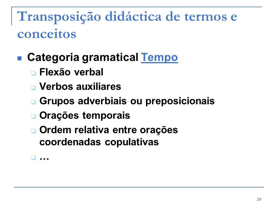 39 Transposição didáctica de termos e conceitos Categoria gramatical TempoTempo Flexão verbal Verbos auxiliares Grupos adverbiais ou preposicionais Or