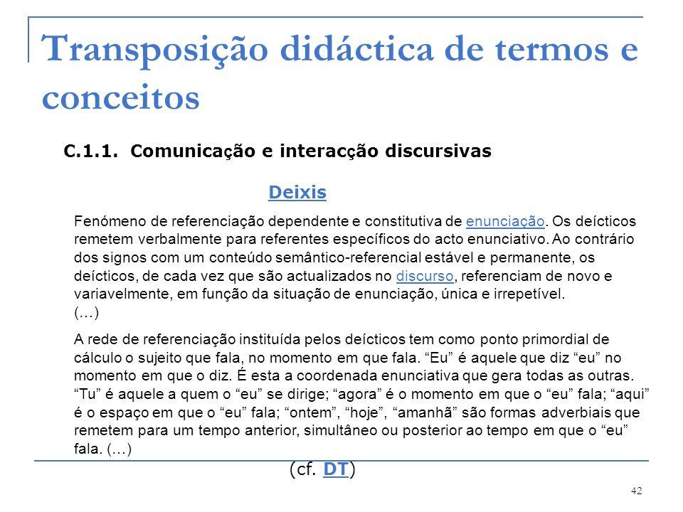 42 Transposição didáctica de termos e conceitos C.1.1. Comunica ç ão e interac ç ão discursivas Deixis Fenómeno de referenciação dependente e constitu
