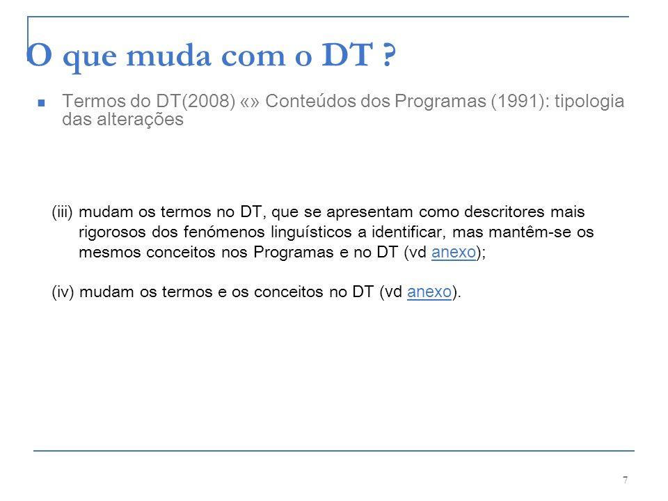 7 O que muda com o DT ? (iii) mudam os termos no DT, que se apresentam como descritores mais rigorosos dos fenómenos linguísticos a identificar, mas m