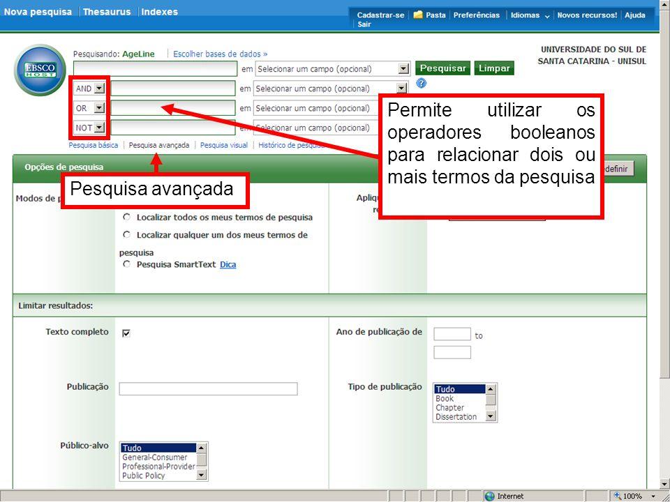Para visualização do arquivo na integra, deve-se clicar no item Texto Completo de PDF