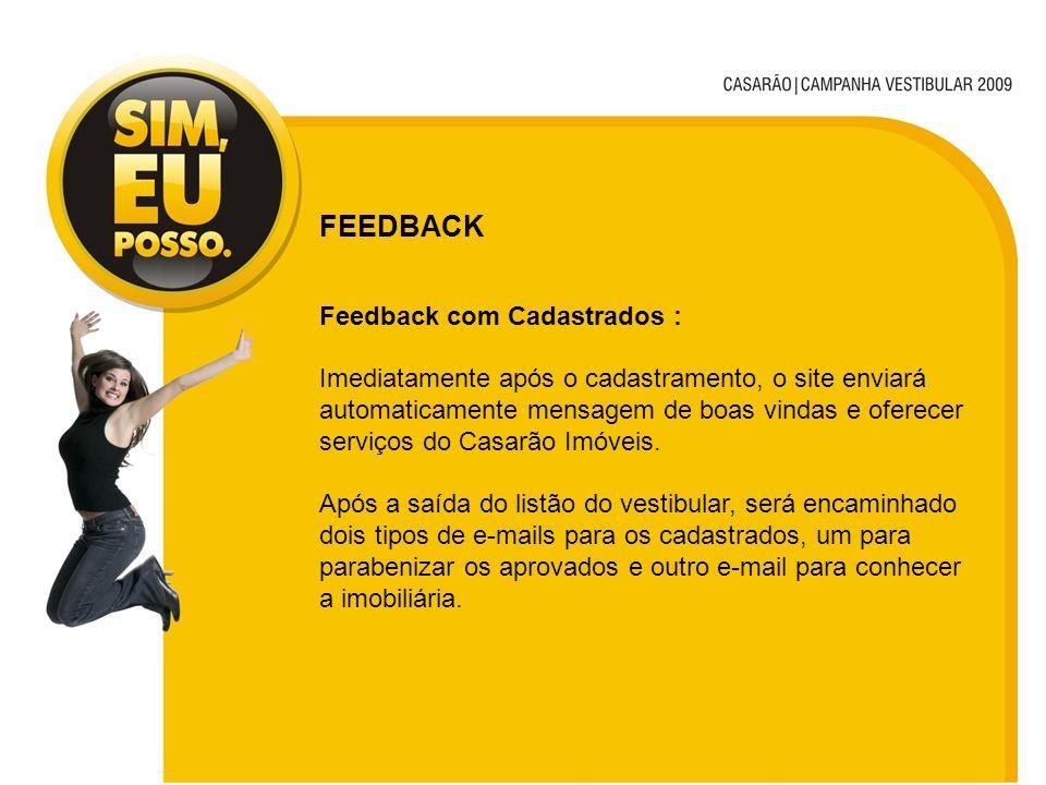 FEEDBACK Feedback com Cadastrados : Imediatamente após o cadastramento, o site enviará automaticamente mensagem de boas vindas e oferecer serviços do Casarão Imóveis.
