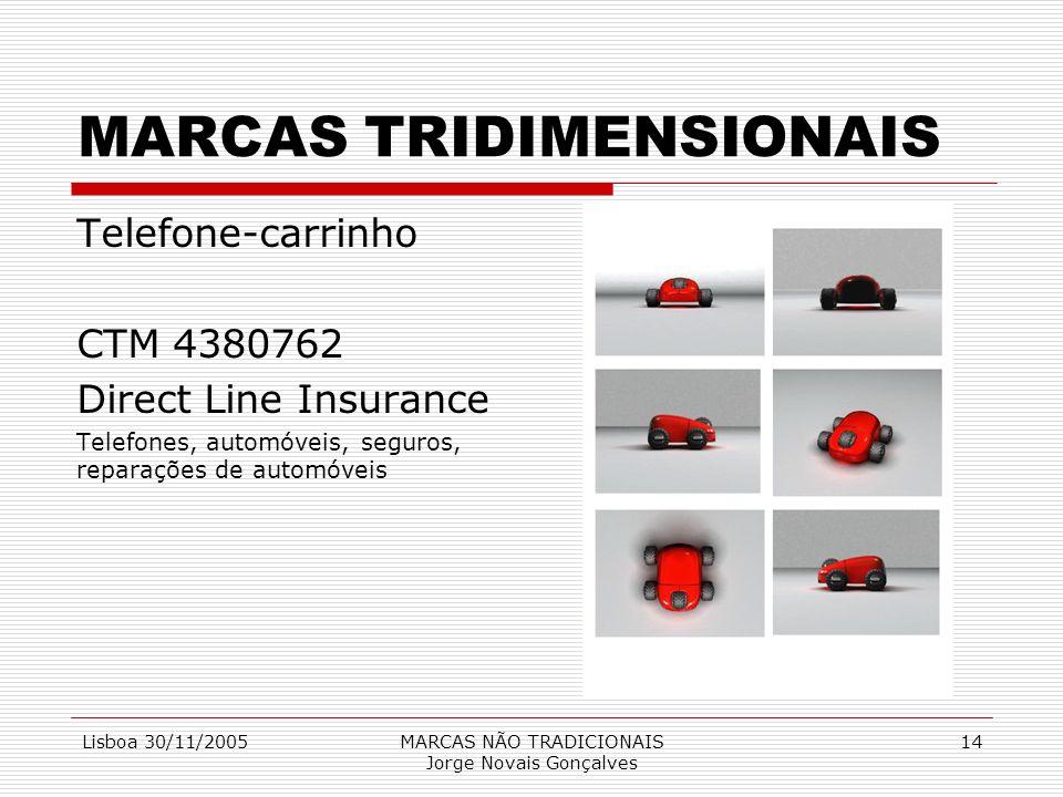 Lisboa 30/11/2005MARCAS NÃO TRADICIONAIS Jorge Novais Gonçalves 14 MARCAS TRIDIMENSIONAIS Telefone-carrinho CTM 4380762 Direct Line Insurance Telefone