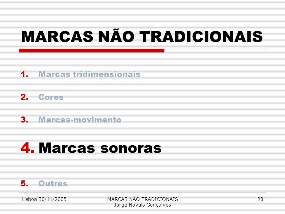 Lisboa 30/11/2005MARCAS NÃO TRADICIONAIS Jorge Novais Gonçalves 28 MARCAS NÃO TRADICIONAIS 1.Marcas tridimensionais 2.Cores 3.Marcas-movimento 4.Marca