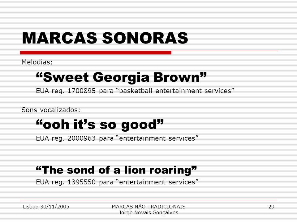 Lisboa 30/11/2005MARCAS NÃO TRADICIONAIS Jorge Novais Gonçalves 29 MARCAS SONORAS Melodias: Sweet Georgia Brown EUA reg. 1700895 para basketball enter