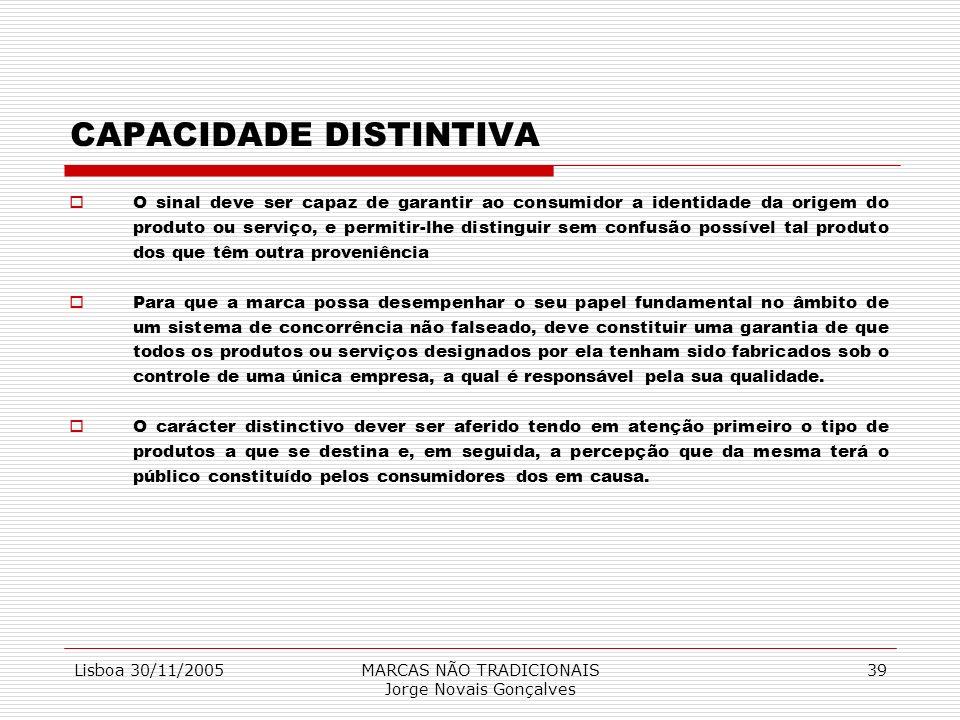 Lisboa 30/11/2005MARCAS NÃO TRADICIONAIS Jorge Novais Gonçalves 39 CAPACIDADE DISTINTIVA O sinal deve ser capaz de garantir ao consumidor a identidade