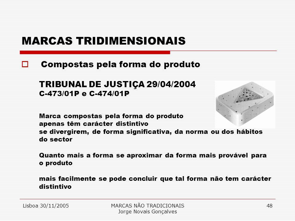 Lisboa 30/11/2005MARCAS NÃO TRADICIONAIS Jorge Novais Gonçalves 48 MARCAS TRIDIMENSIONAIS Compostas pela forma do produto TRIBUNAL DE JUSTIÇA 29/04/20