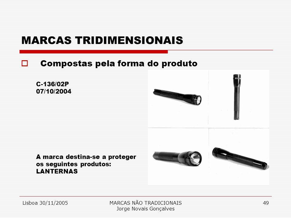 Lisboa 30/11/2005MARCAS NÃO TRADICIONAIS Jorge Novais Gonçalves 49 MARCAS TRIDIMENSIONAIS Compostas pela forma do produto C-136/02P 07/10/2004 A marca