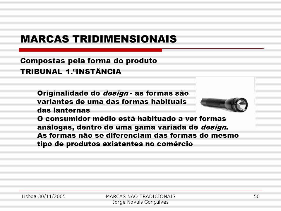 Lisboa 30/11/2005MARCAS NÃO TRADICIONAIS Jorge Novais Gonçalves 50 MARCAS TRIDIMENSIONAIS Compostas pela forma do produto TRIBUNAL 1.ªINSTÂNCIA Origin