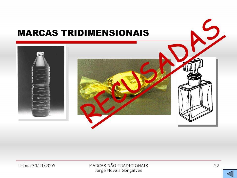 Lisboa 30/11/2005MARCAS NÃO TRADICIONAIS Jorge Novais Gonçalves 52 MARCAS TRIDIMENSIONAIS RECUSADAS