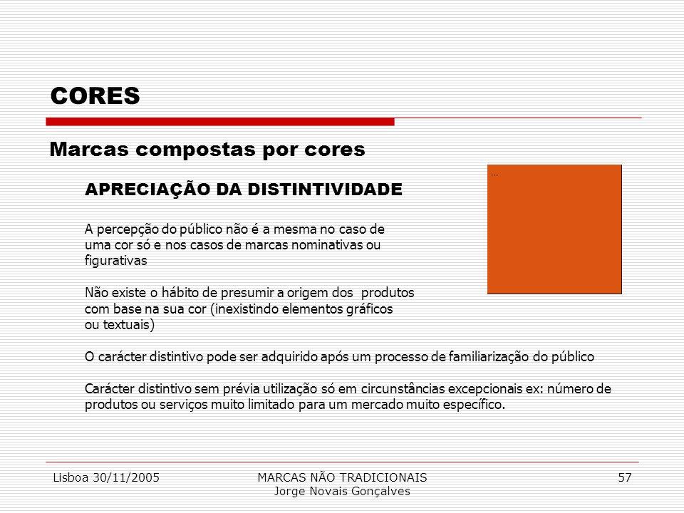 Lisboa 30/11/2005MARCAS NÃO TRADICIONAIS Jorge Novais Gonçalves 57 CORES Marcas compostas por cores APRECIAÇÃO DA DISTINTIVIDADE A percepção do públic
