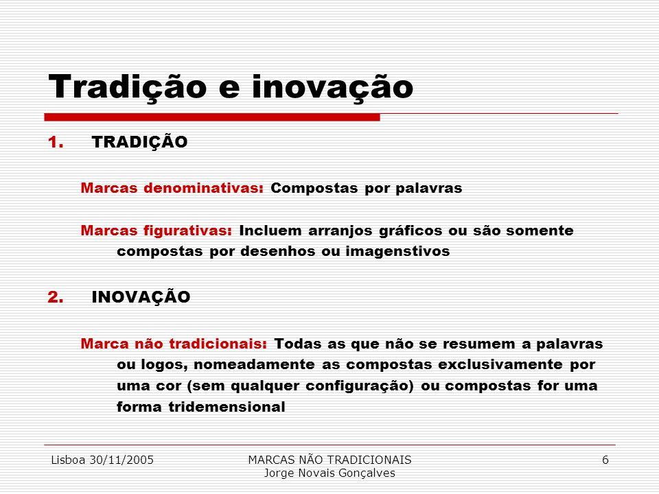 Lisboa 30/11/2005MARCAS NÃO TRADICIONAIS Jorge Novais Gonçalves 6 Tradição e inovação 1.TRADIÇÃO Marcas denominativas: Compostas por palavras Marcas f