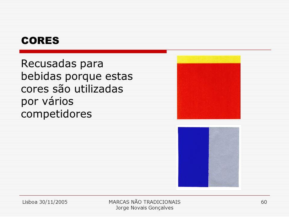 Lisboa 30/11/2005MARCAS NÃO TRADICIONAIS Jorge Novais Gonçalves 60 CORES Recusadas para bebidas porque estas cores são utilizadas por vários competido