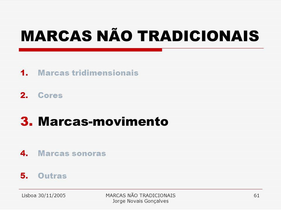 Lisboa 30/11/2005MARCAS NÃO TRADICIONAIS Jorge Novais Gonçalves 61 MARCAS NÃO TRADICIONAIS 1.Marcas tridimensionais 2.Cores 3.Marcas-movimento 4.Marca
