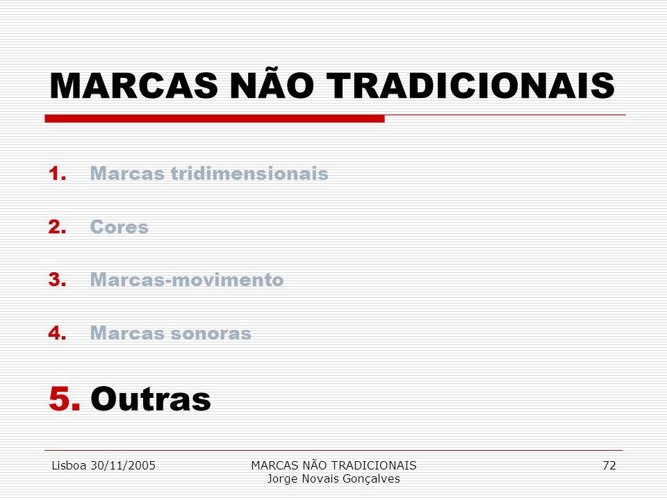 Lisboa 30/11/2005MARCAS NÃO TRADICIONAIS Jorge Novais Gonçalves 72 MARCAS NÃO TRADICIONAIS 1.Marcas tridimensionais 2.Cores 3.Marcas-movimento 4.Marca
