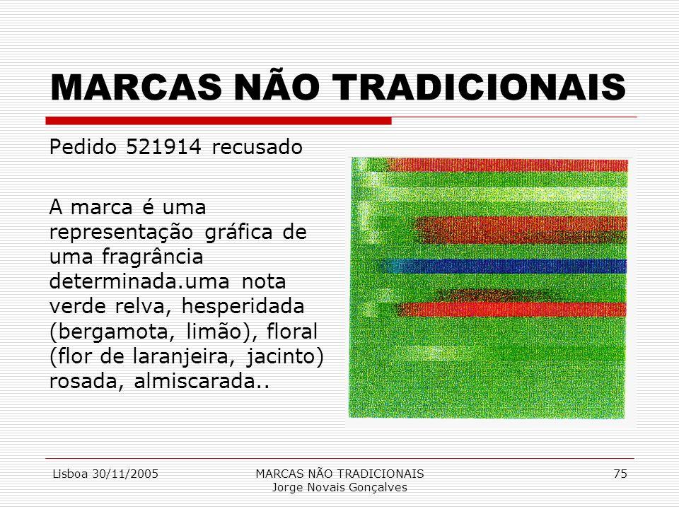 Lisboa 30/11/2005MARCAS NÃO TRADICIONAIS Jorge Novais Gonçalves 75 MARCAS NÃO TRADICIONAIS Pedido 521914 recusado A marca é uma representação gráfica