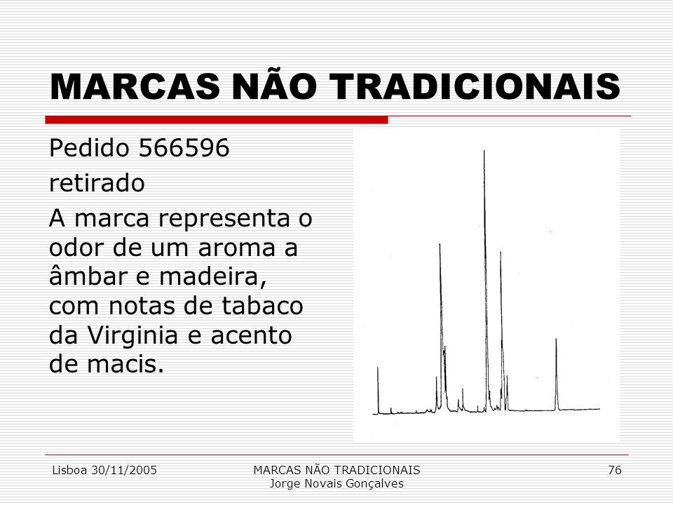 Lisboa 30/11/2005MARCAS NÃO TRADICIONAIS Jorge Novais Gonçalves 76 MARCAS NÃO TRADICIONAIS Pedido 566596 retirado A marca representa o odor de um arom