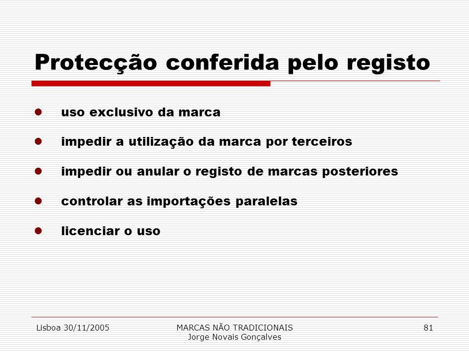 Lisboa 30/11/2005MARCAS NÃO TRADICIONAIS Jorge Novais Gonçalves 81 Protecção conferida pelo registo luso exclusivo da marca limpedir a utilização da m