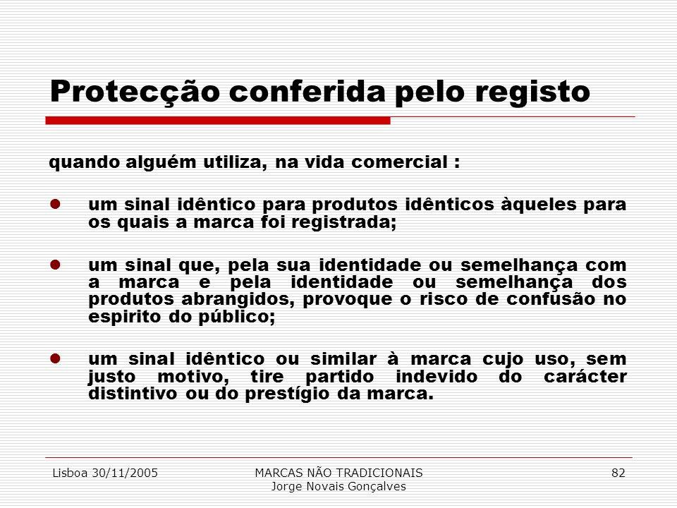 Lisboa 30/11/2005MARCAS NÃO TRADICIONAIS Jorge Novais Gonçalves 82 Protecção conferida pelo registo quando alguém utiliza, na vida comercial : lum sin